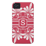 White Flowers Monogrammed  iPhone 4:Red iPhone 4 Case-Mate Case