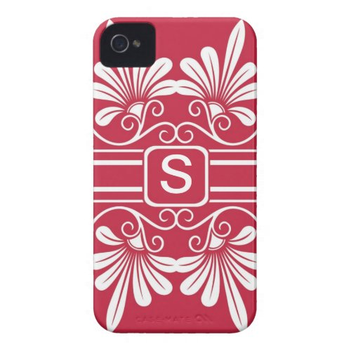 White Flowers Monogrammed  iPhone 4:Red Case-Mate iPhone 4 Case