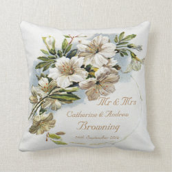 White Flowers Mr & Mrs Wedding Keepsake Throw Pillow