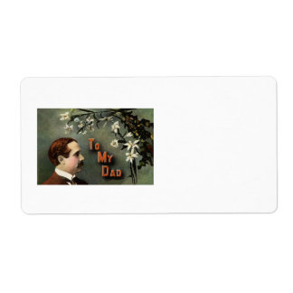 White Flowers Mustache Vintage Father's Day Label