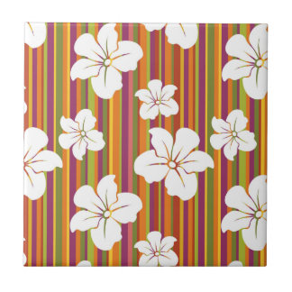 White flowers on a striped background ceramic tile
