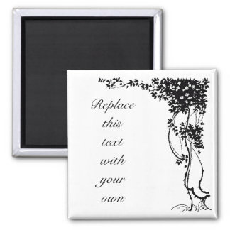 White Flowers on a Vine Customizable Square Magnet