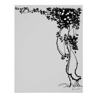 White Flowers on a Vine Vintage Art RSVP Card! Personalized Invitation