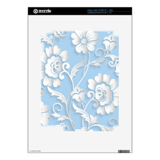 White Flowers On Baby Blue Decal For The iPad 2