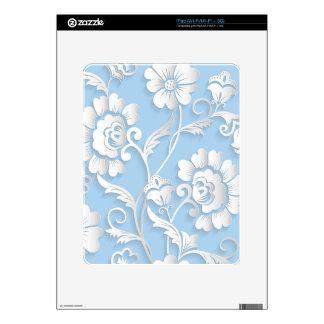 White Flowers On Baby Blue iPad Skins