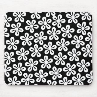 White Flowers On Black Mousepad