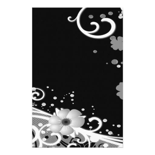White Flowers on Black Stationery Design