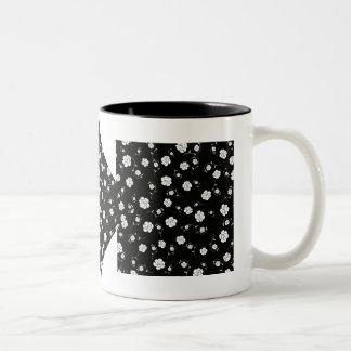 White Flowers on Black Two-Tone Coffee Mug