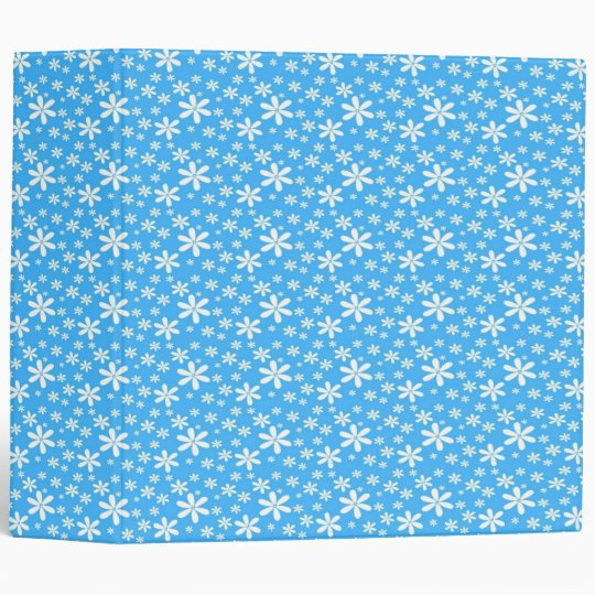 White Flowers on Blue 3 Ring Binder