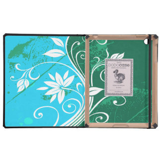 White Flowers on Blue and Green Grunge iPad Case