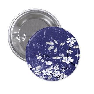 White Flowers on Blue Grunge Button