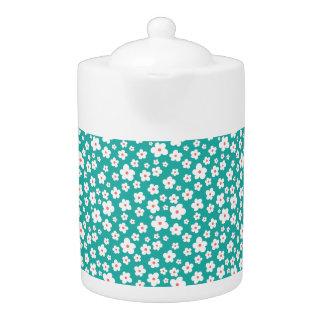 White flowers on custom color teapot