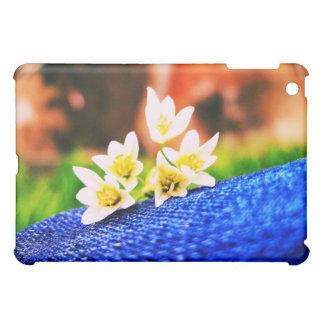 White Flowers on Denim iPad Case