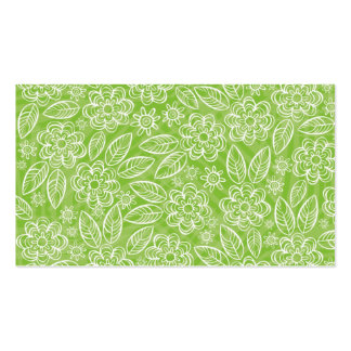 white flowers on green background business card