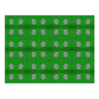 white flowers on green background postcard