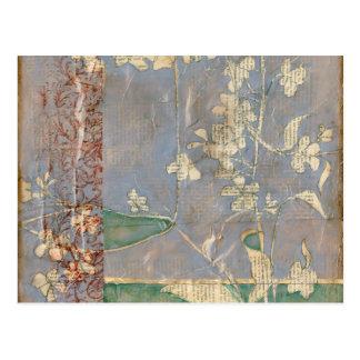 White Flowers on Newsprint Background Postcard