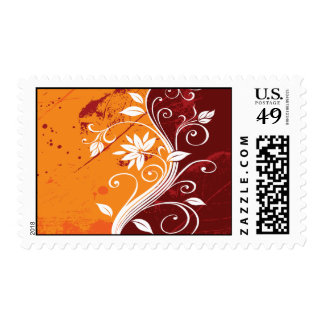 White Flowers on Orange and Burgundy Grunge Postage