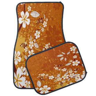 White Flowers on Orange Grunge Car Mat