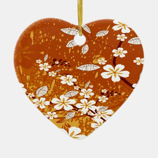 White Flowers on Orange Grunge Ceramic Ornament