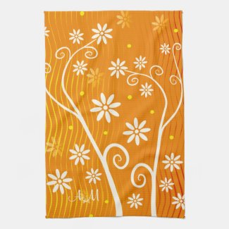 White Flowers on Orange with Initials KitchenTowel