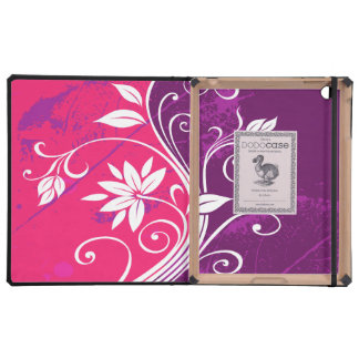 White Flowers on Pink and Purple Grunge iPad Cases