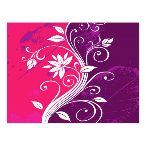 White Flowers on Pink and Purple Grunge Postcard