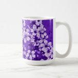 white flowers on purple background mug