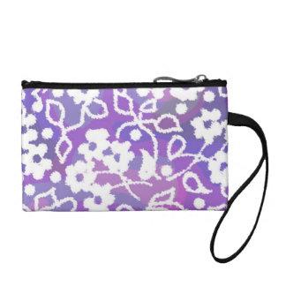 white flowers on purple swirl coin wallet