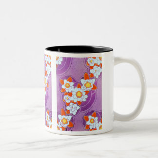 White Flowers on Purple Two-Tone Coffee Mug