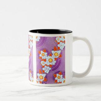White Flowers on Purple Two-Tone Coffee Mug