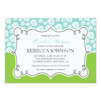 White Flowers on Teal & Green Bridal Shower Card