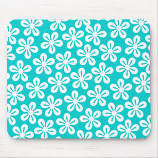White Flowers On Turquoise Mousepad