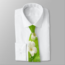 White Flowers on Vine Neck Tie