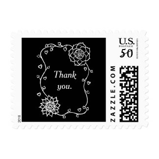 White Flowers Outlines Black Your Text Stamps
