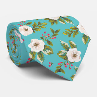 White flowers painting on turquoise background neck tie