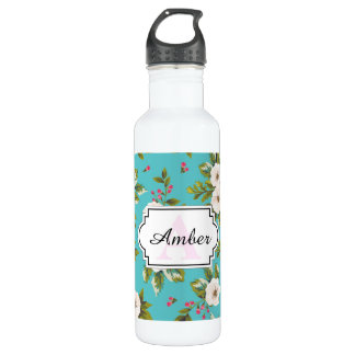 White flowers painting on turquoise background stainless steel water bottle