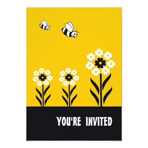 White Flowers Party Invitation Card-Yellow