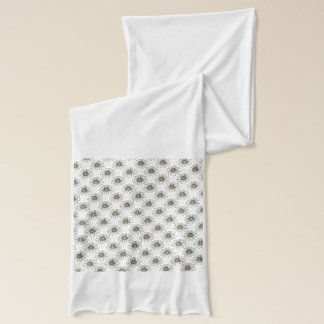white-flowers patterned scarf