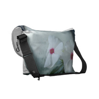 White Flowers Photo Rickshaw Messenger Bag