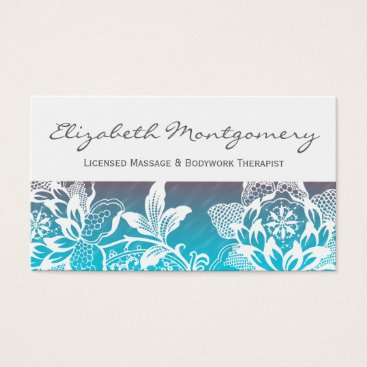 Professional Business White Flowers Professional Massage Business Card