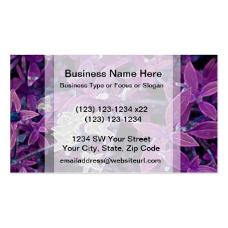 white flowers purple leaves sparkle business card