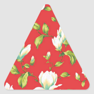 white flowers red backgroung triangle sticker