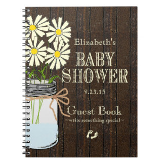 White Flowers Rustic Country Baby Shower GuestBook Notebook