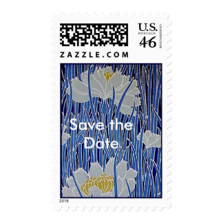 White Flowers Save the Date Postage