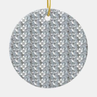 White Flowers Silver String Art NVN171 NavinJOSHI Christmas Ornament