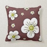 White Flowers Throw Pillows