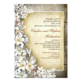 white flowers vintage anniversary invitations