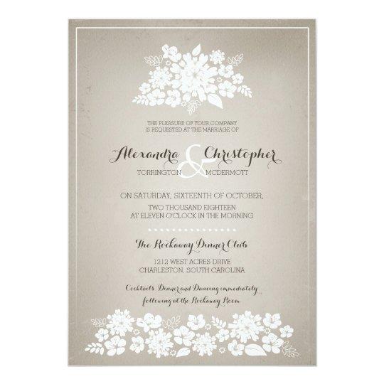 White Flowers Vintage Ivory Background Wedding Invitation