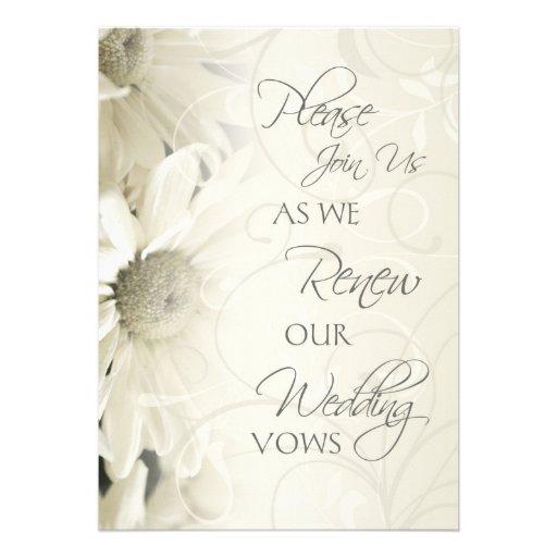 White Flowers Wedding Vow Renewal Invitations 5 X 7 Invitation Card