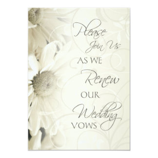 "White Flowers Wedding Vow Renewal Invitations 5"" X 7"" Invitation Card"